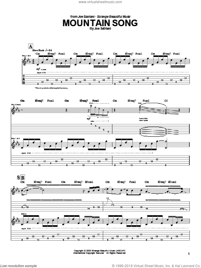 Mountain Song sheet music for guitar (tablature) by Joe Satriani. Score Image Preview.