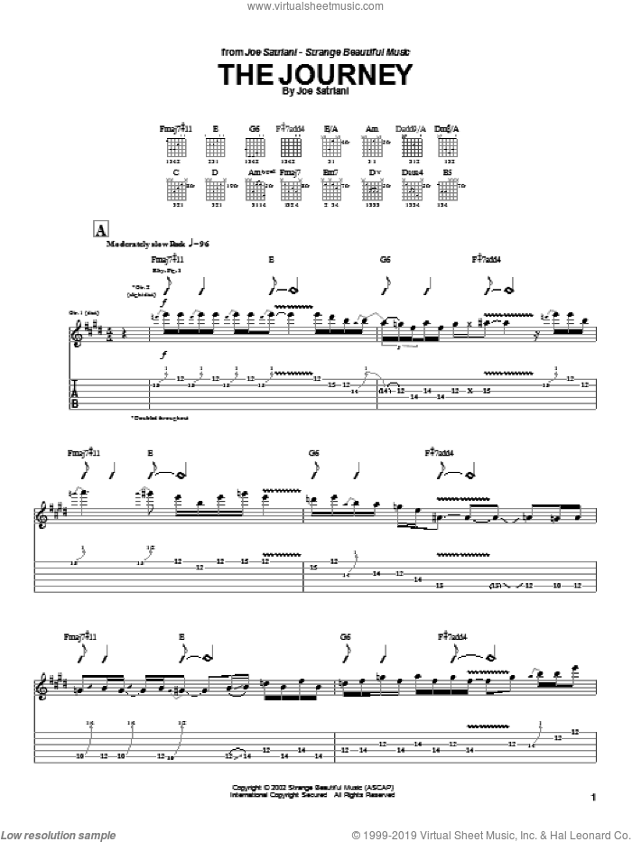 The Journey sheet music for guitar (tablature) by Joe Satriani. Score Image Preview.