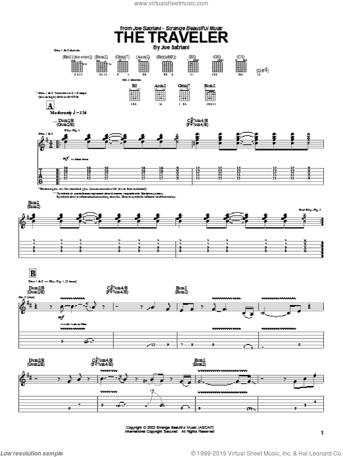 The Traveler sheet music for guitar (tablature) by Joe Satriani. Score Image Preview.
