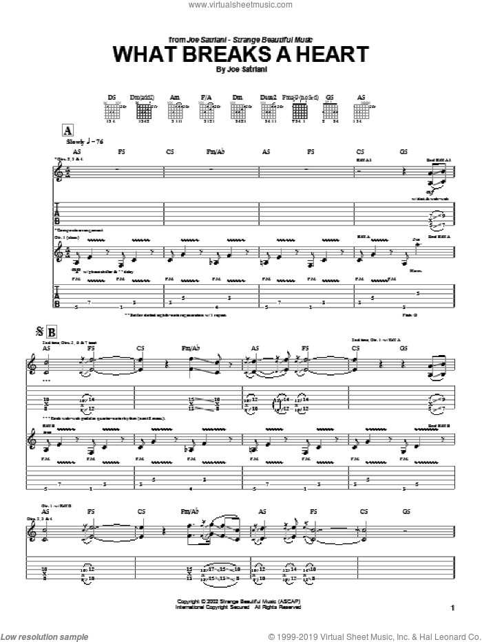 What Breaks A Heart sheet music for guitar (tablature) by Joe Satriani. Score Image Preview.