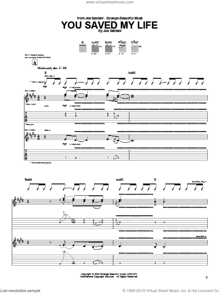 You Saved My Life sheet music for guitar (tablature) by Joe Satriani. Score Image Preview.