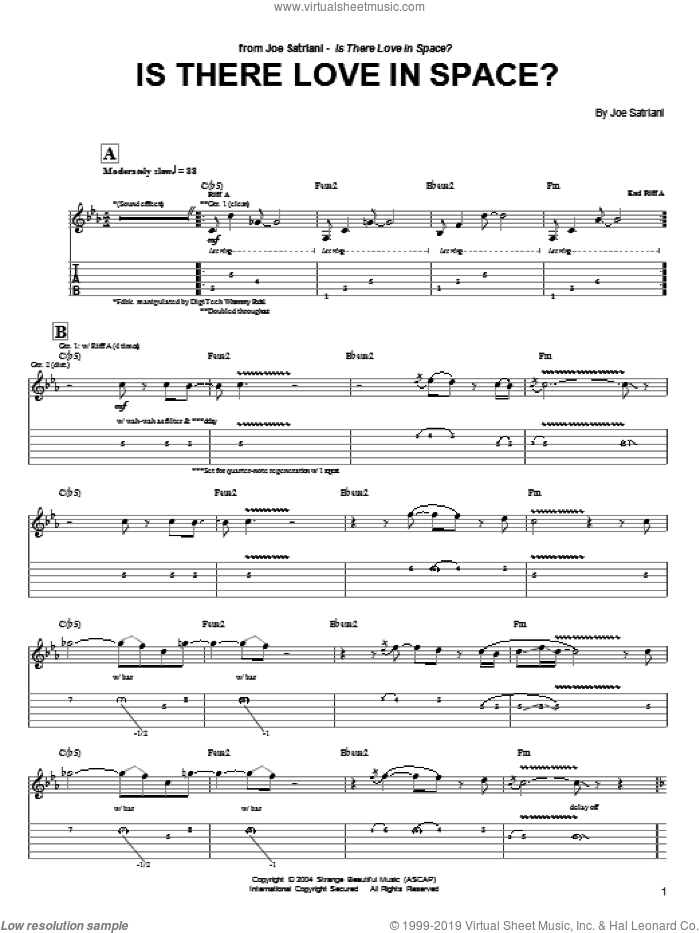 Is There Love In Space? sheet music for guitar (tablature) by Joe Satriani. Score Image Preview.