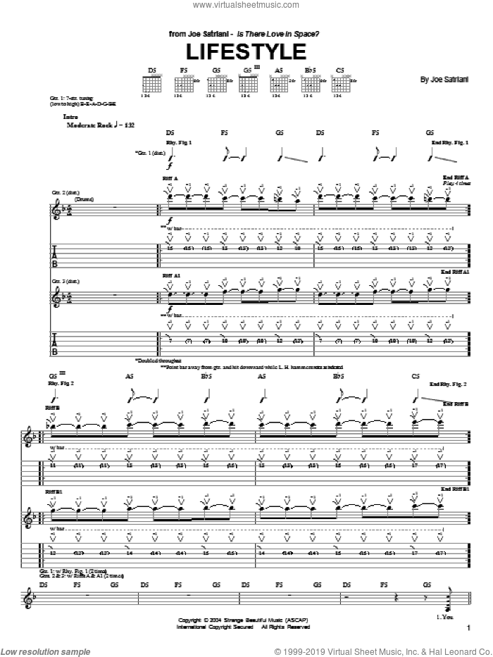Lifestyle sheet music for guitar (tablature) by Joe Satriani. Score Image Preview.