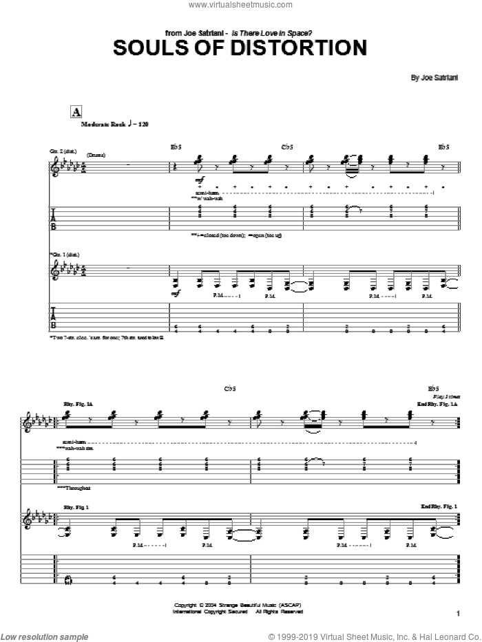 Souls Of Distortion sheet music for guitar (tablature) by Joe Satriani. Score Image Preview.