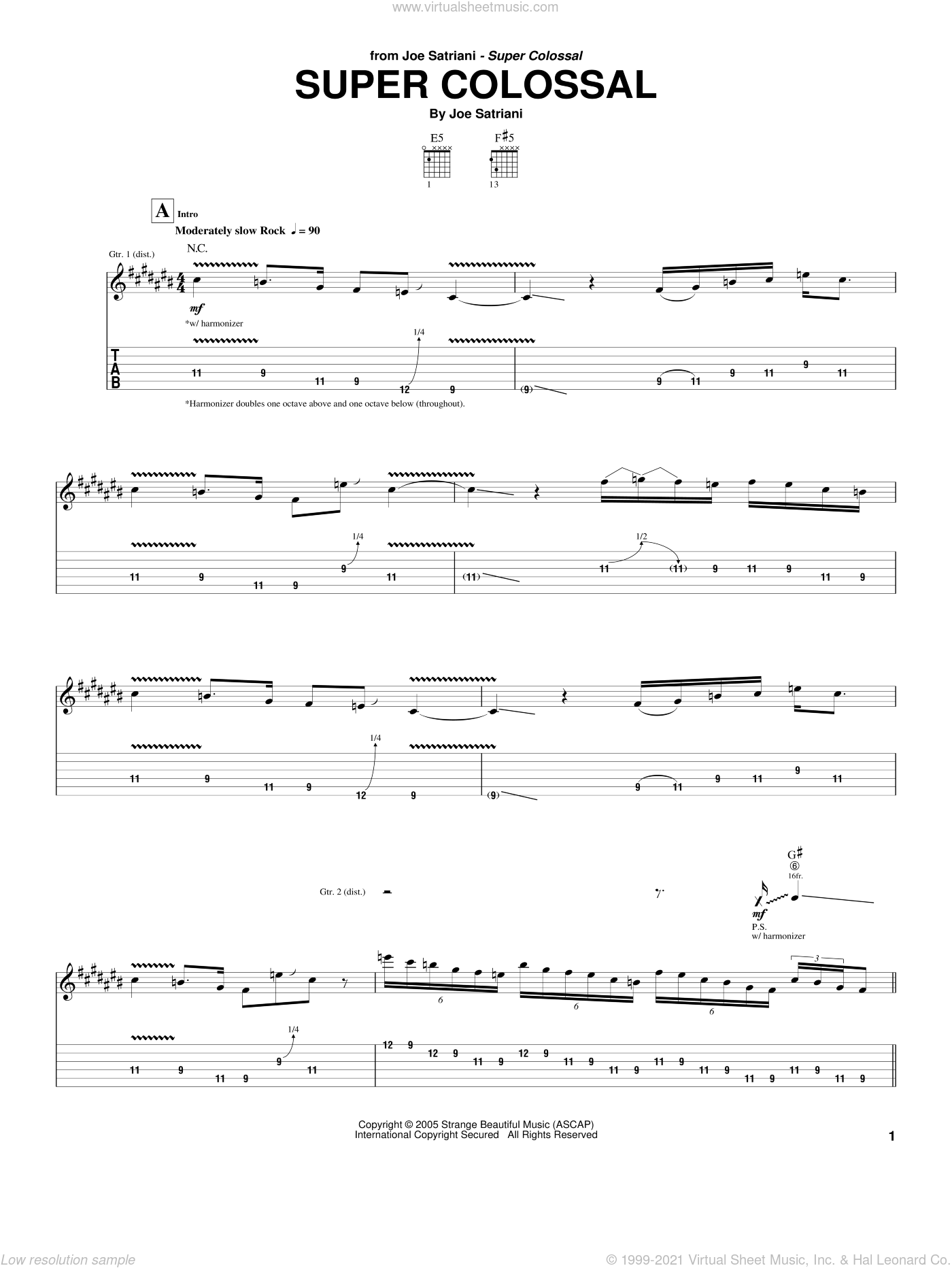 Super Colossal sheet music for guitar (tablature) by Joe Satriani, intermediate skill level