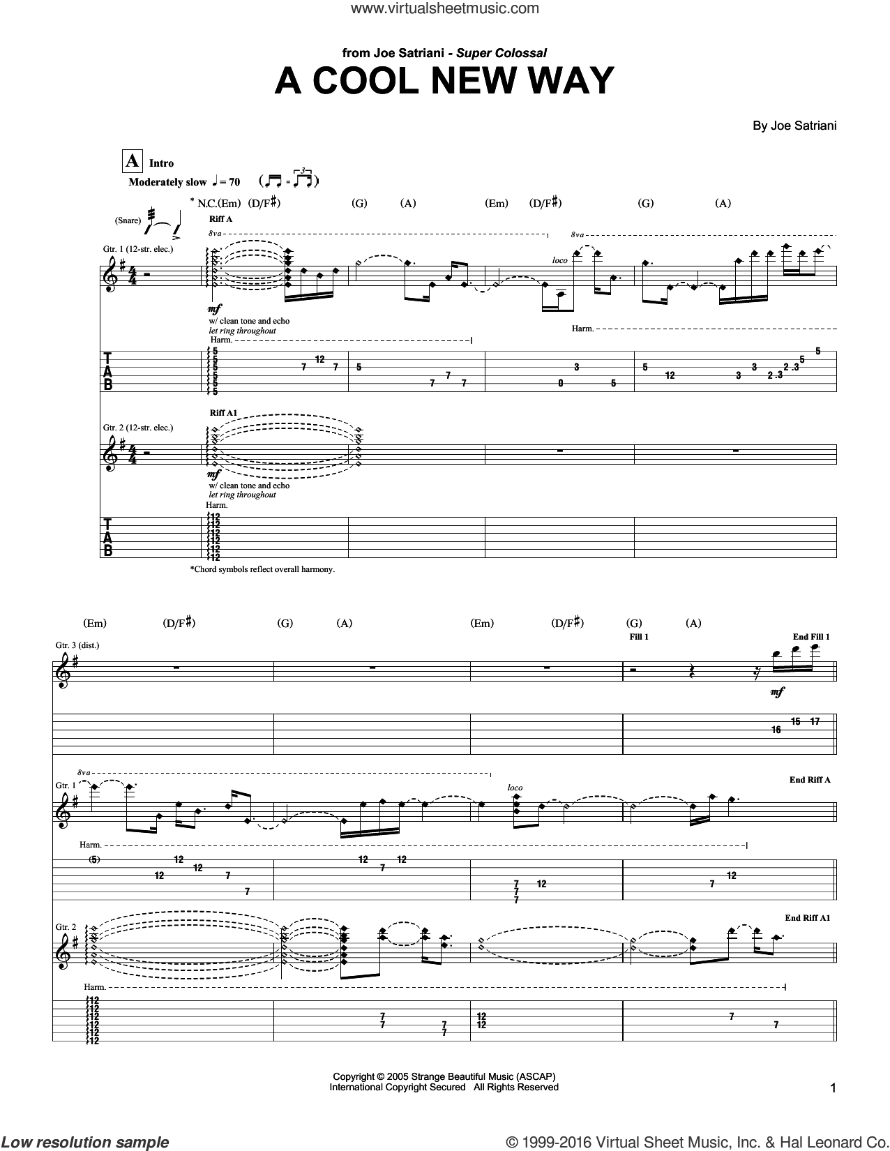 A Cool New Way sheet music for guitar (tablature) by Joe Satriani. Score Image Preview.