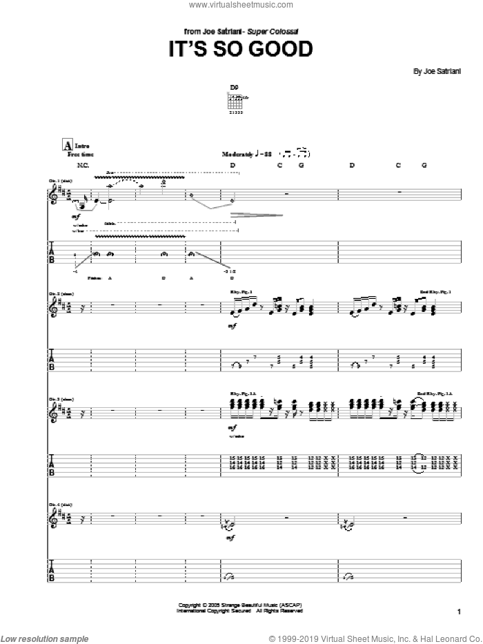 It's So Good sheet music for guitar (tablature) by Joe Satriani. Score Image Preview.