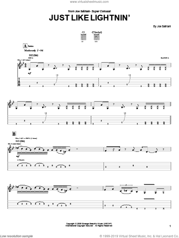 Just Like Lightnin' sheet music for guitar (tablature) by Joe Satriani. Score Image Preview.