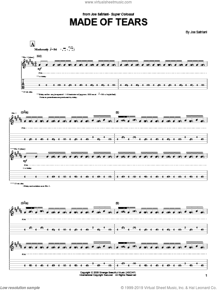 Made Of Tears sheet music for guitar (tablature) by Joe Satriani. Score Image Preview.