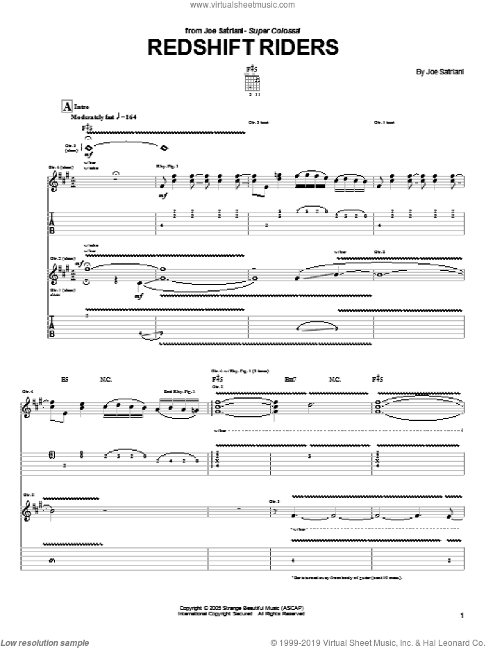Redshift Riders sheet music for guitar (tablature) by Joe Satriani. Score Image Preview.