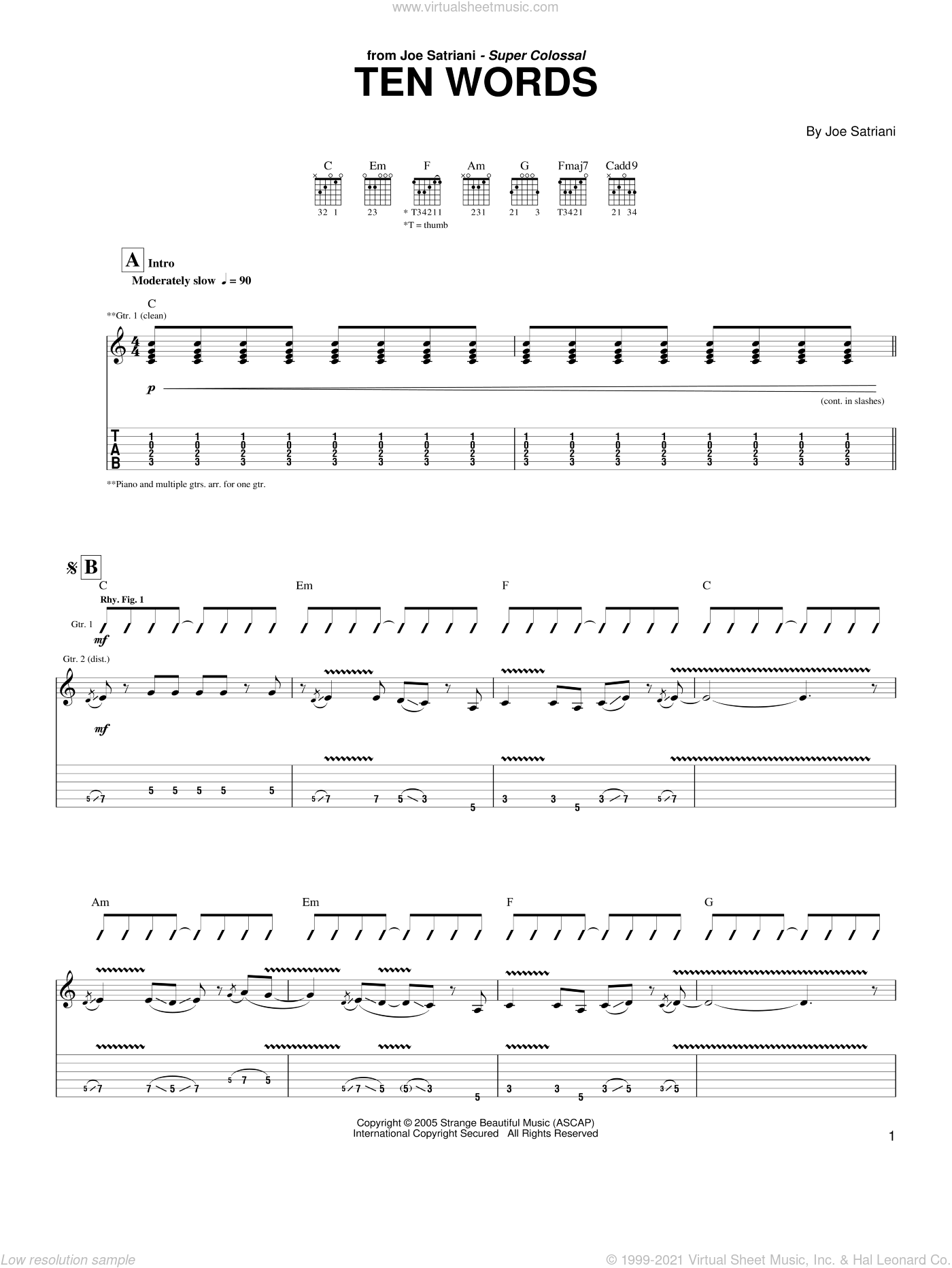 Ten Words sheet music for guitar (tablature) by Joe Satriani, intermediate skill level