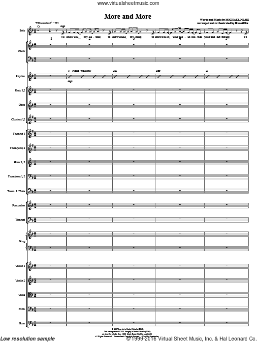 More And More (COMPLETE) sheet music for orchestra by Michael Neale and Harold Ross. Score Image Preview.