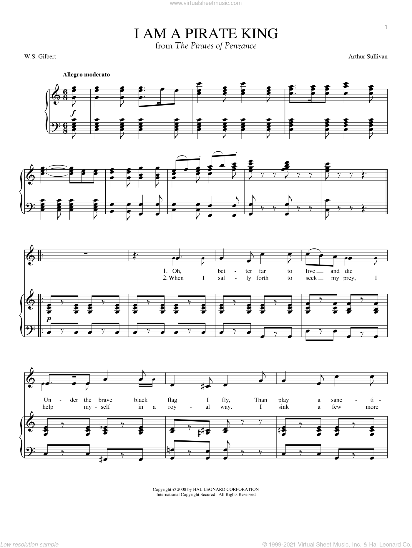 I Am A Pirate King sheet music for voice and piano by Joan Frey Boytim, Arthur Sullivan and William S. Gilbert, intermediate skill level