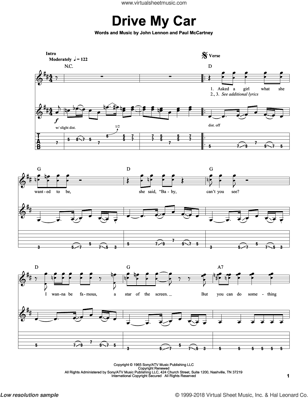 Drive My Car sheet music for guitar (tablature, play-along) by The Beatles, John Lennon and Paul McCartney, intermediate guitar (tablature, play-along). Score Image Preview.