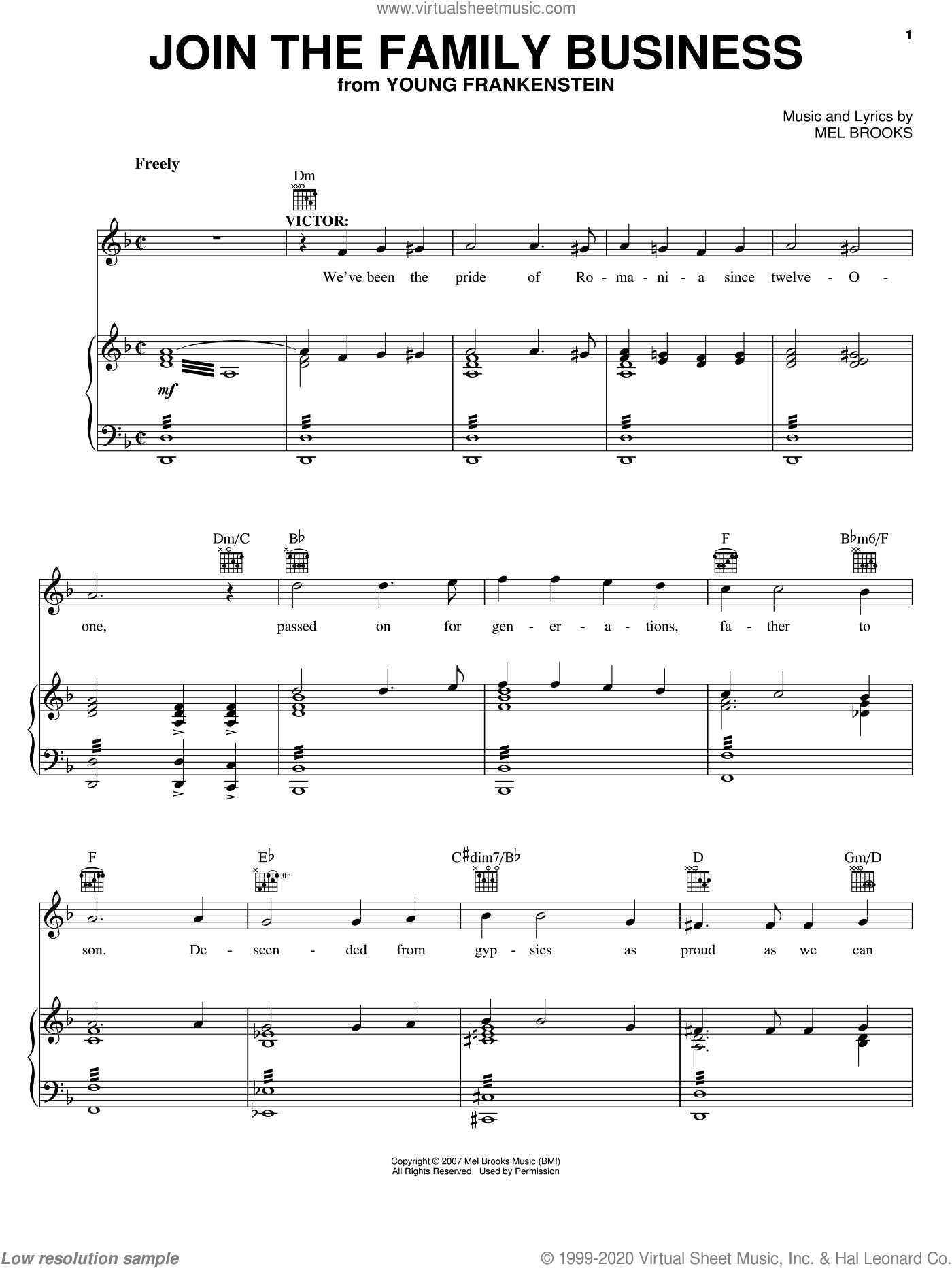 Join The Family Business sheet music for voice, piano or guitar by Mel Brooks. Score Image Preview.