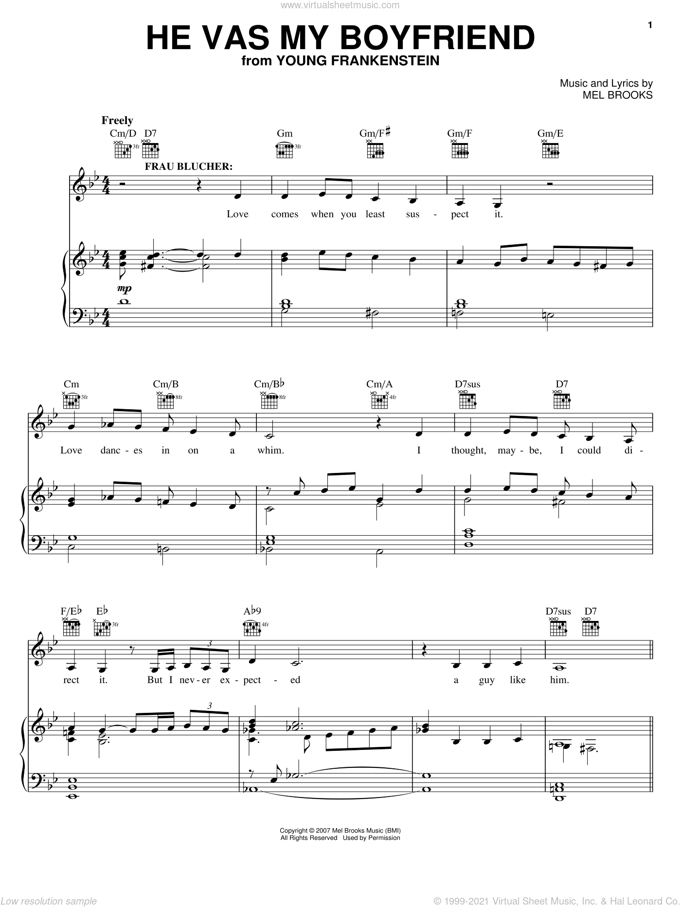 He Vas My Boyfriend sheet music for voice, piano or guitar by Thomas Meehan and Mel Brooks. Score Image Preview.