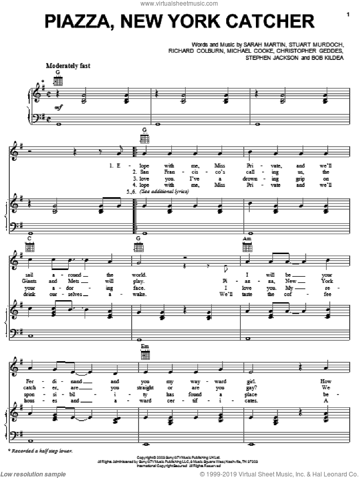 Piazza, New York Catcher sheet music for voice, piano or guitar by Stuart Murdoch