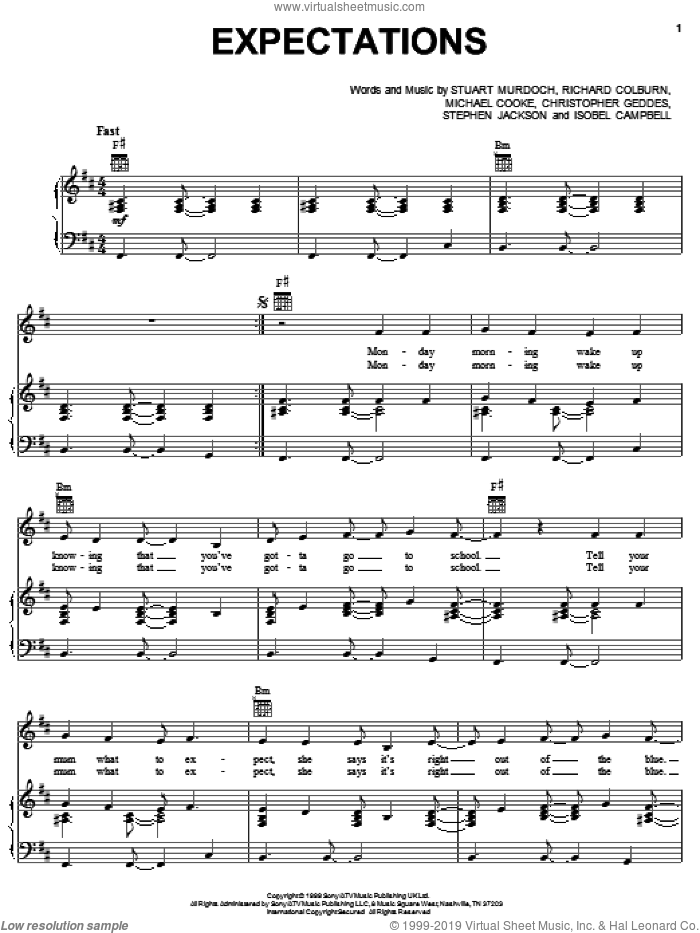 Expectations sheet music for voice, piano or guitar by Stuart Murdoch and Miscellaneous. Score Image Preview.
