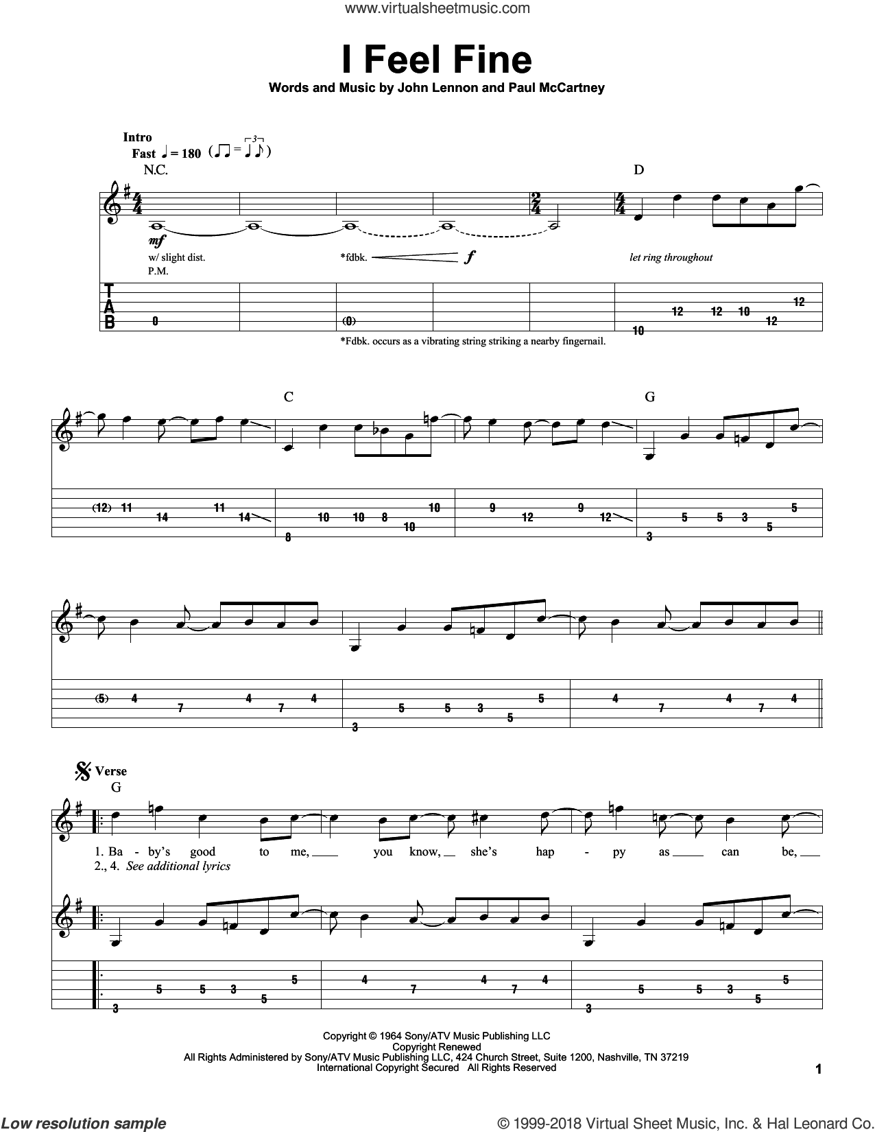 I Feel Fine sheet music for guitar (tablature, play-along) by The Beatles, John Lennon and Paul McCartney, intermediate skill level