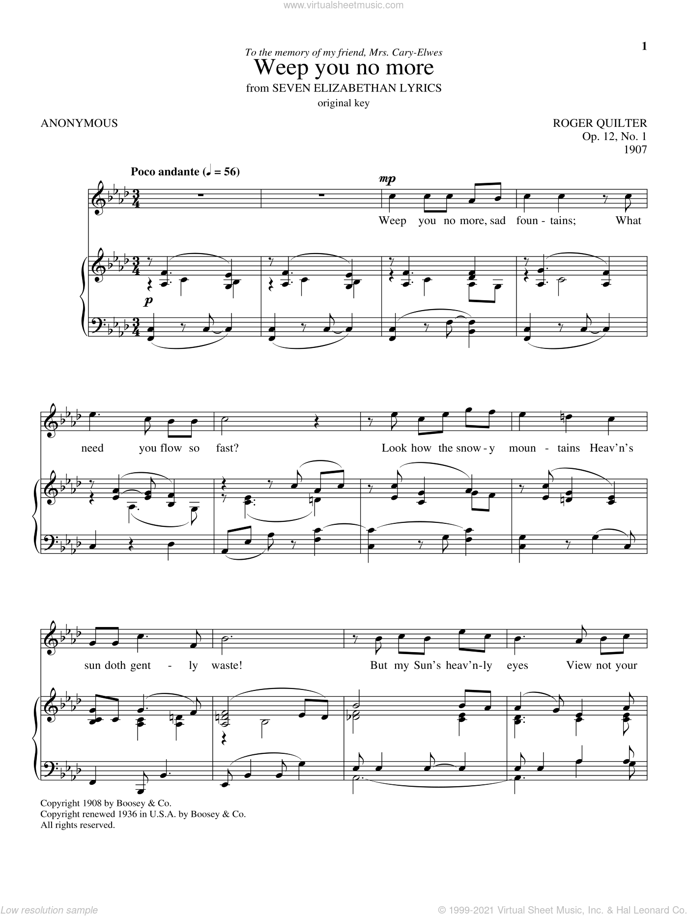 Weep You No More sheet music for voice and piano by Roger Quilter. Score Image Preview.