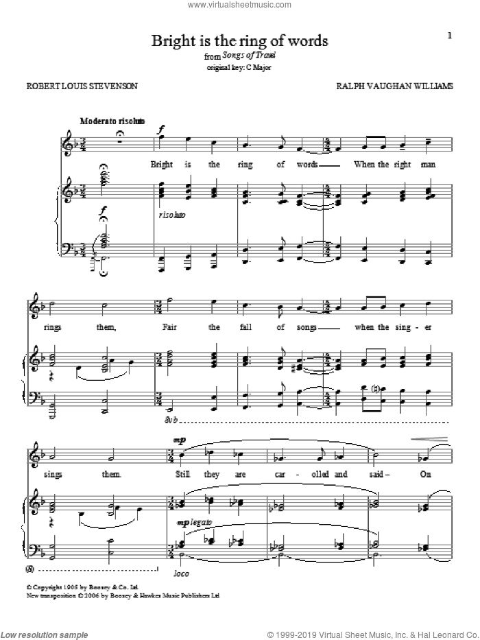 Bright Is The Ring Of Words sheet music for voice and piano by Ralph Vaughan Williams and Robert Louis Stevenson, classical score, intermediate skill level