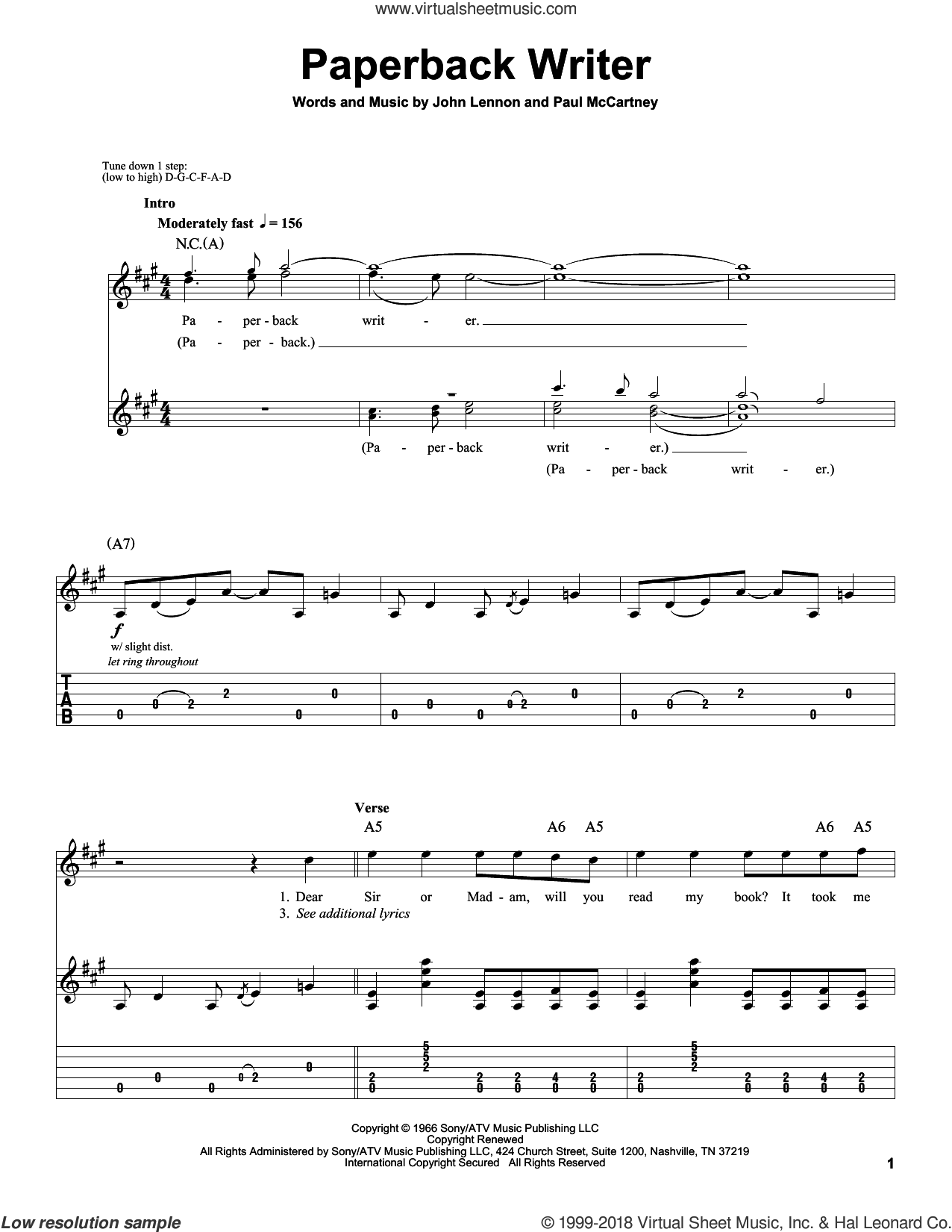 Paperback Writer sheet music for guitar (tablature, play-along) by The Beatles, John Lennon and Paul McCartney, intermediate