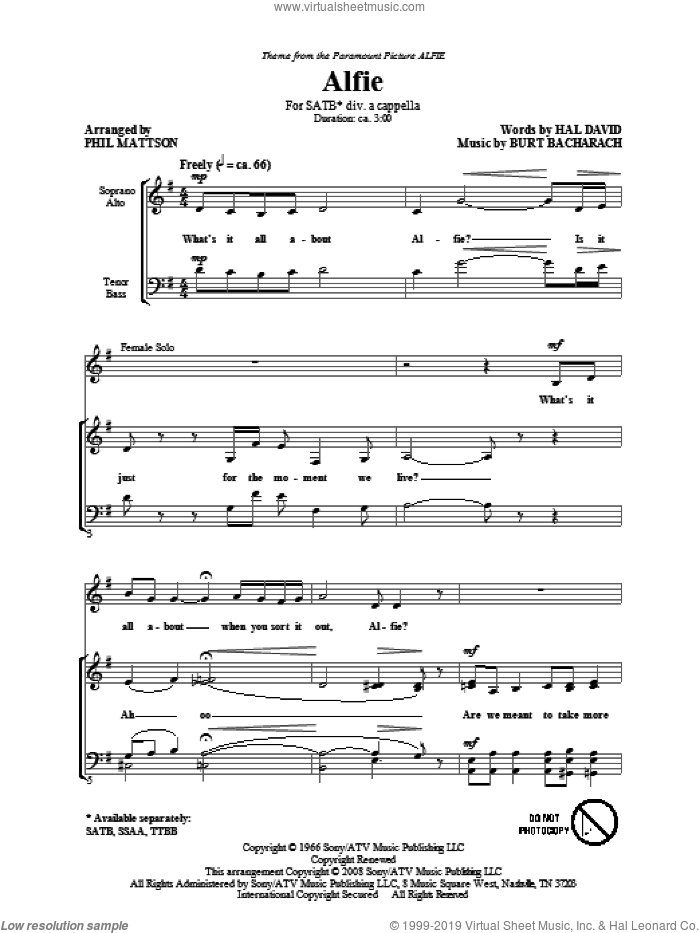 Alfie sheet music for choir and piano (SATB) by Burt Bacharach
