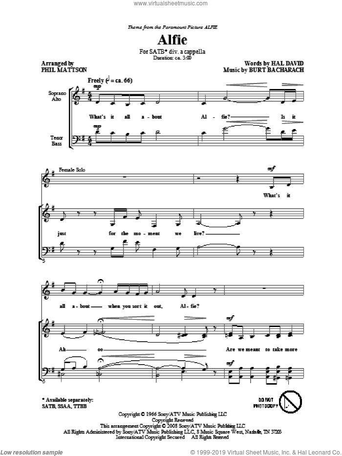 Alfie sheet music for choir (SATB: soprano, alto, tenor, bass) by Burt Bacharach, Hal David and Phil Mattson, intermediate skill level