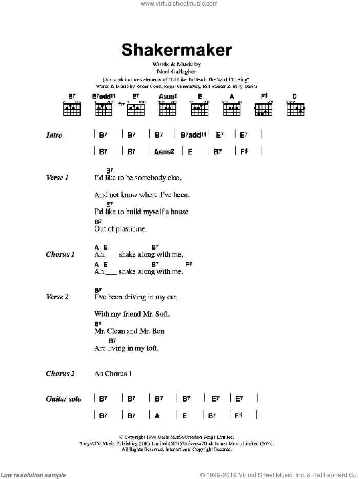Shakermaker sheet music for guitar (chords) by Oasis and Noel Gallagher, intermediate skill level
