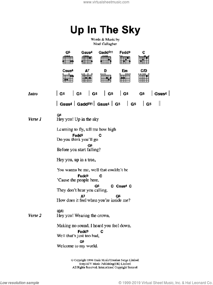 Up In The Sky sheet music for guitar (chords) by Oasis and Noel Gallagher, intermediate skill level