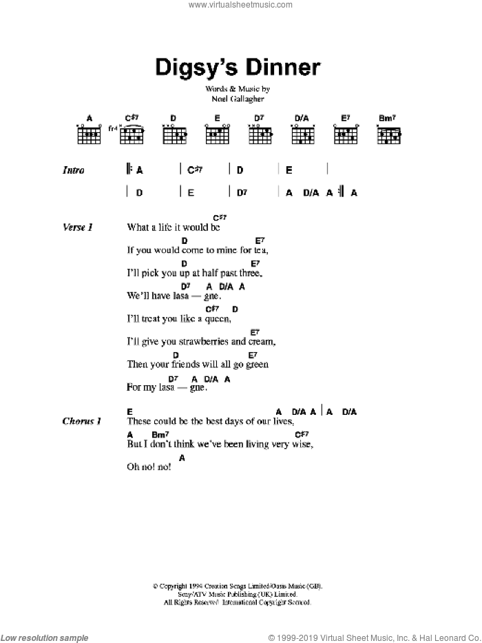 Digsy's Dinner sheet music for guitar (chords) by Oasis and Noel Gallagher, intermediate skill level
