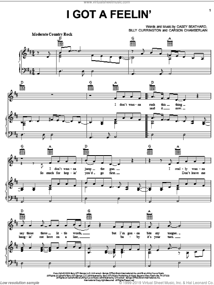 I Got A Feelin' sheet music for voice, piano or guitar by Billy Currington and Carson Chamberlain, intermediate. Score Image Preview.