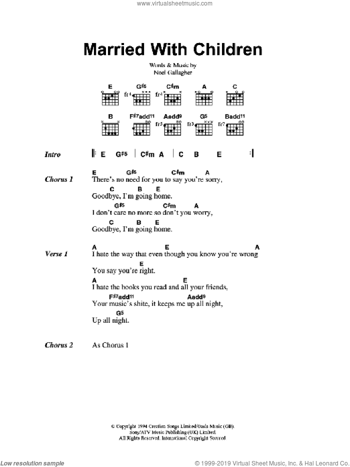 Married With Children sheet music for guitar (chords) by Noel Gallagher and Oasis. Score Image Preview.