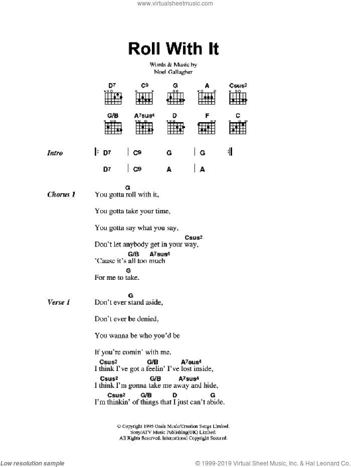 Roll With It sheet music for guitar (chords) by Oasis and Noel Gallagher, intermediate skill level