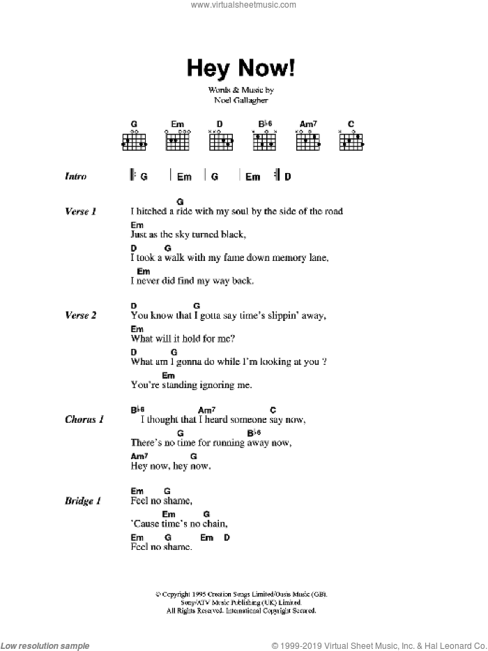 Oasis Hey Now Sheet Music For Guitar Chords