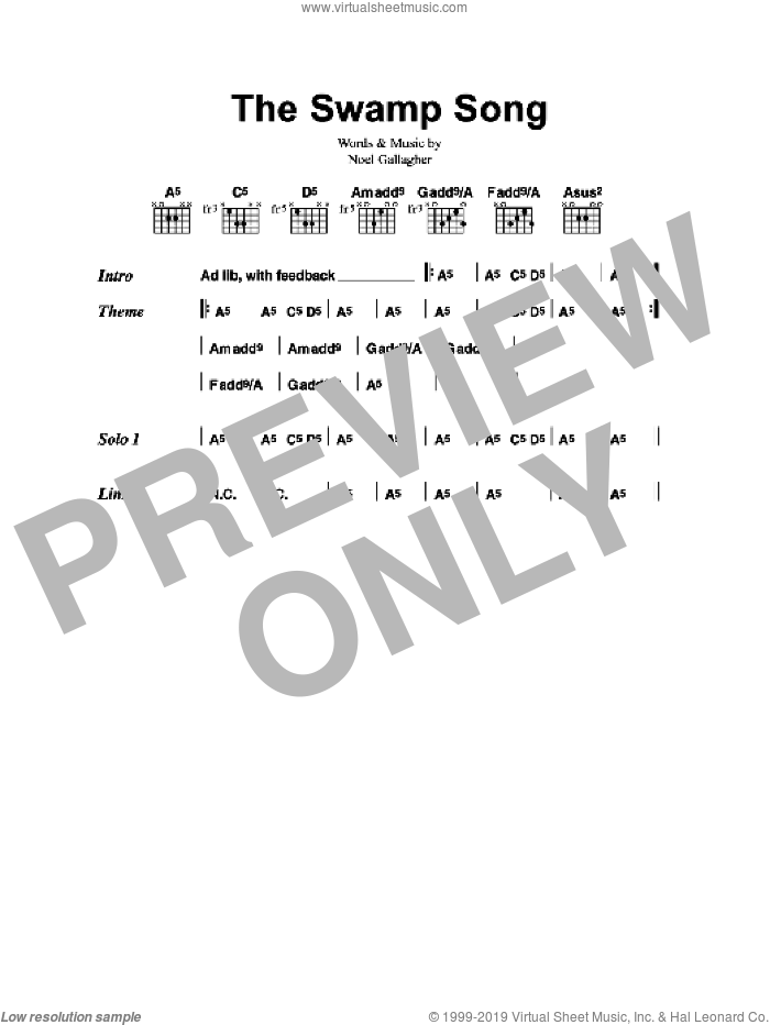 The Swamp Song sheet music for guitar (chords) by Oasis and Noel Gallagher, intermediate. Score Image Preview.
