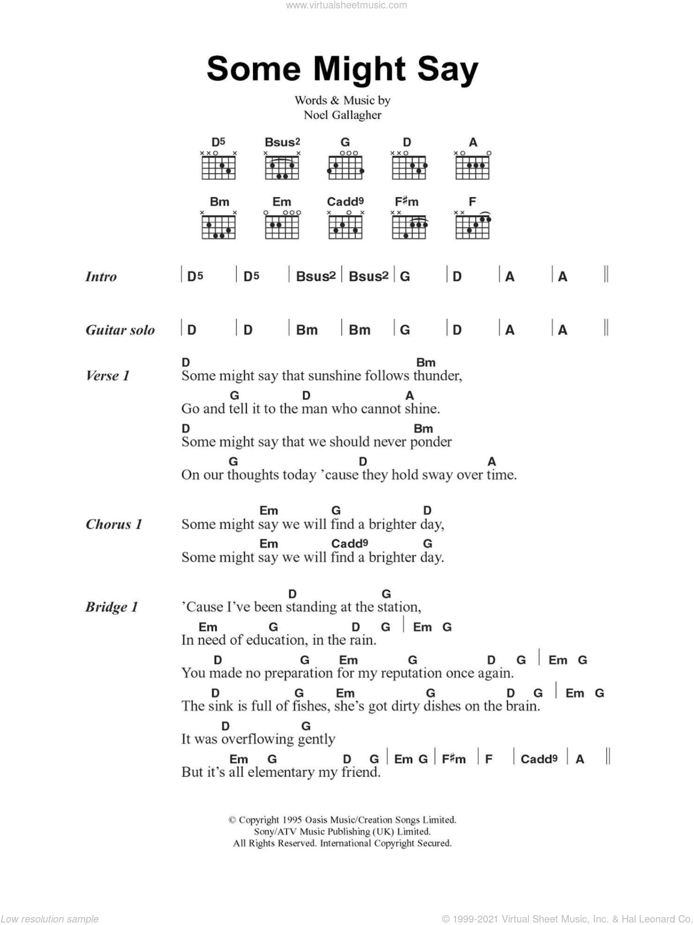Oasis Some Might Say Sheet Music For Guitar Chords V2