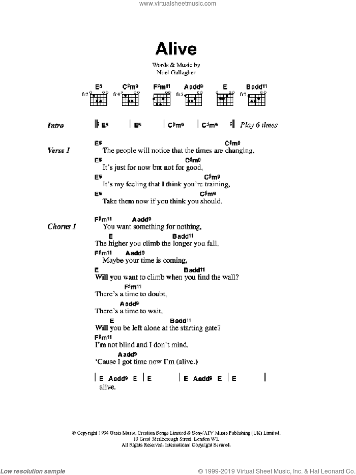 Alive sheet music for guitar (chords) by Oasis and Noel Gallagher. Score Image Preview.