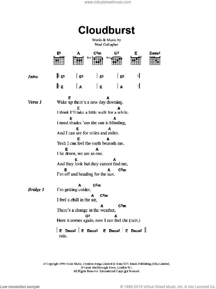 Cloudburst sheet music for guitar (chords, lyrics, melody) by Noel Gallagher