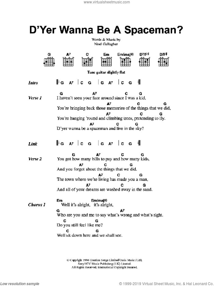 D'Yer Wanna Be A Spaceman? sheet music for guitar (chords) by Oasis and Noel Gallagher, intermediate guitar (chords). Score Image Preview.