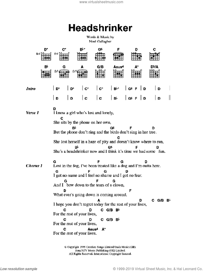 Headshrinker sheet music for guitar (chords) by Oasis and Noel Gallagher, intermediate skill level