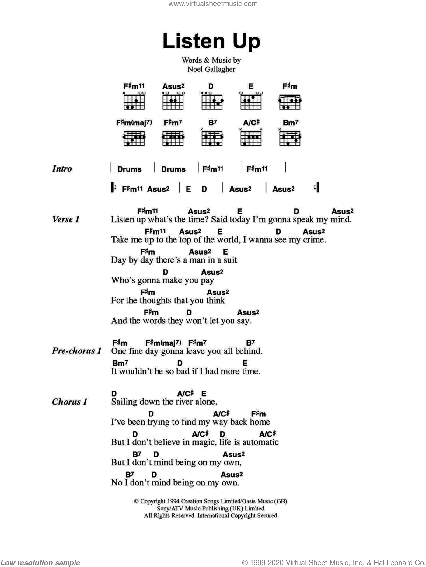Listen Up sheet music for guitar (chords) by Oasis and Noel Gallagher, intermediate skill level