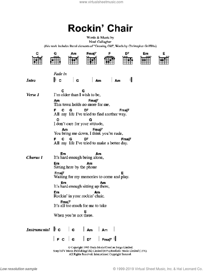 Rockin' Chair sheet music for guitar (chords) by Noel Gallagher