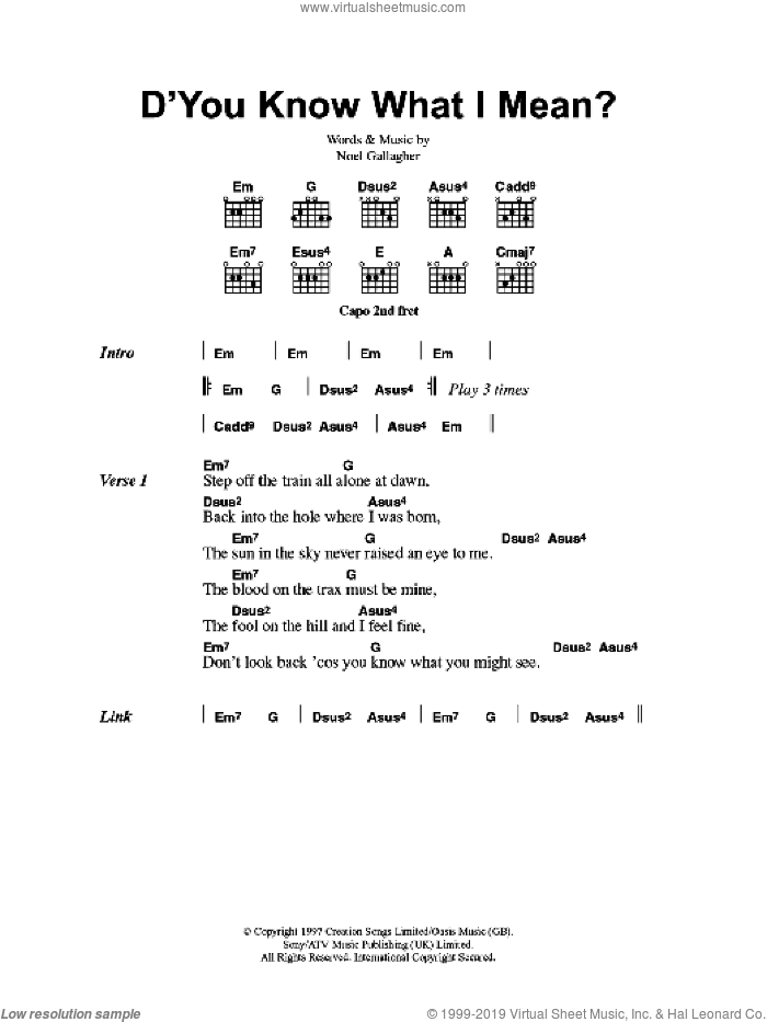 D'You Know What I Mean? sheet music for guitar (chords, lyrics, melody) by Noel Gallagher