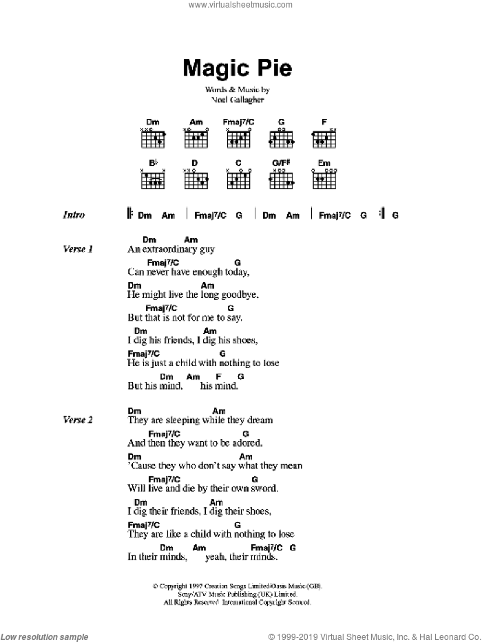 Magic Pie sheet music for guitar (chords) by Noel Gallagher and Oasis. Score Image Preview.