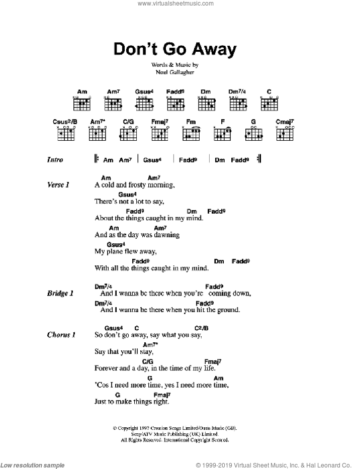 Don't Go Away sheet music for guitar (chords, lyrics, melody) by Noel Gallagher
