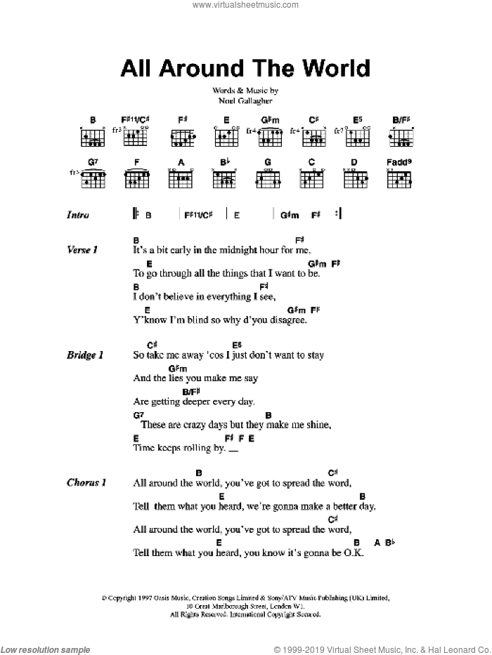 All Around The World sheet music for guitar (chords) by Noel Gallagher