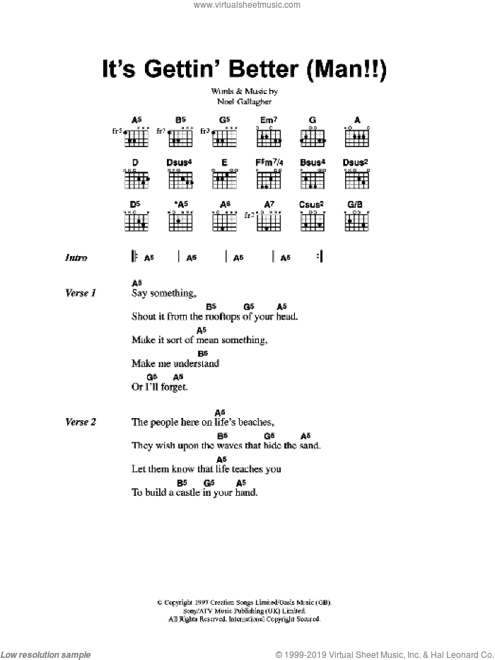 It's Gettin' Better (Man!!) sheet music for guitar (chords) by Oasis and Noel Gallagher, intermediate