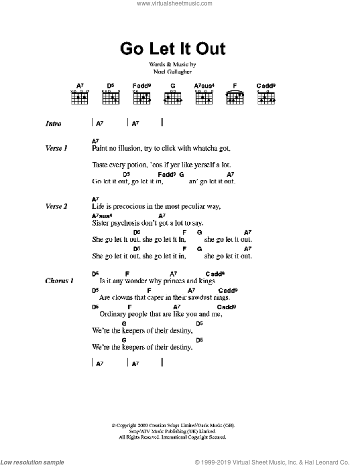 Go Let It Out sheet music for guitar (chords) by Noel Gallagher