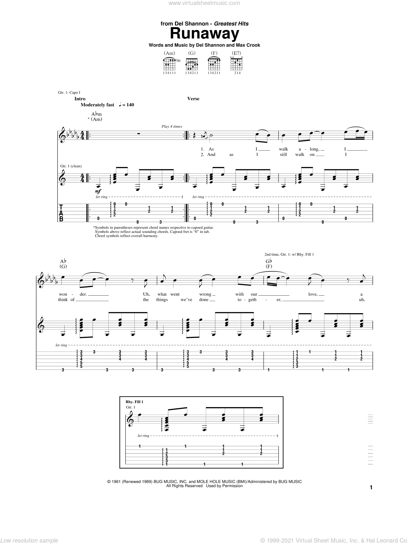 Runaway sheet music for guitar (tablature) by Del Shannon and Max Crook, intermediate skill level